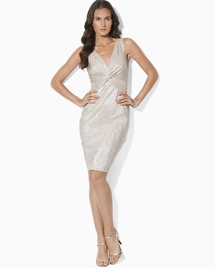 Lauren Ralph Lauren Metallic Twisted Knot Dress