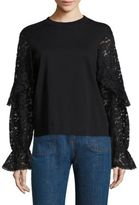 See by Chloe Lace Bell Sleeve Tee