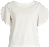 See by Chloe Scallop-trim jersey T-shirt