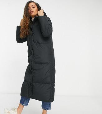 Threadbare Petite jodie longline puffer coat in black