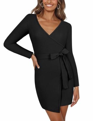 Moyabo Women's Long Sleeve Deep V Neck Tie Waist Work Casual Business Church Mini Dress Black X-Large