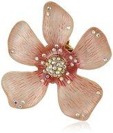 "Betsey Johnson Luminous Betsey"" Large Pink Flower Clip-On Earrings"