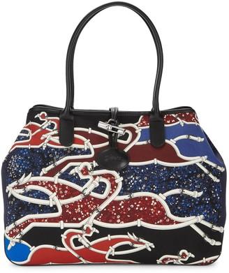 Longchamp Top Handle Floral & Belt Print Tote Bag