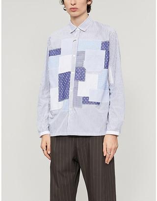 Junya Watanabe Striped patchwork-applique cotton-twill shirt