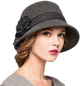 Maitose Women's Wool Felt Flowers Church Bowler Hats Dark Gray