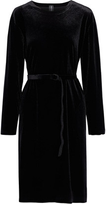 Norma Kamali Belted Stretch-velvet Dress