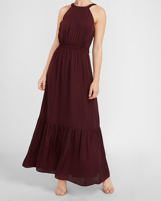Express Tiered Halter Neck Maxi Dress