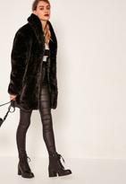 Missguided Pressed Faux Fur Coat Black