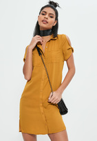 Missguided Yellow Pocket Front Shirt Dress