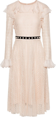 Philosophy di Lorenzo Serafini Ruffled Chiffon-trimmed Embellished Crochet-knit Midi Dress