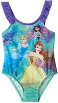 Disney Princess Cinderella, Jasmine & Belle Toddler Girl Ruffle One-Piece Swimsuit