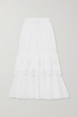 Charo Ruiz Ibiza Marga Crocheted Lace-paneled Cotton-blend Voile Midi Skirt - White
