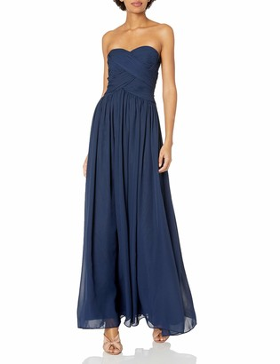 JS Boutique Women's Strapless Rouoched Bodice Chiffon Gown