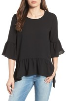 Gibson Petite Women's Ruffled Handkerchief Hem Top