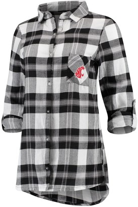 Women's Concepts Sport Black Washington State Cougars Headway Rayon Flannel Shirt