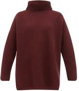 Joseph Oversized Ribbed Merino Wool Roll-neck Sweater - Womens - Burgundy