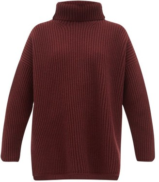 Joseph Oversized Ribbed Merino Wool Roll-neck Sweater - Womens - Burgundy
