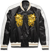 Alexander McQueen Embroidered Cotton and Silk-Blend Satin Souvenir Jacket