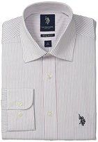 U.S. Polo Assn. Men's 3 Color Stripe Semi Spread Collar Dress Shirt