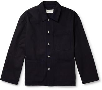 Maison Margiela Indigo-Dyed Herringbone Denim Overshirt