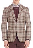Luciano Barbera Cashmere, Wool & Silk Blend Plaid Sportscoat
