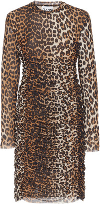 Ganni Leopard-Print Ruched Mesh Dress