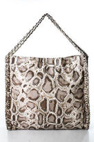 Sondra Roberts Beige Leather Snakeskin Print Double Chain Strap Shoulder Handbag