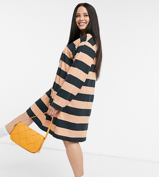ASOS DESIGN Curve oversized t-shirt dress with long sleeve in black and camel stripe