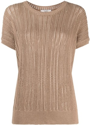 Peserico open knit round neck T-shirt