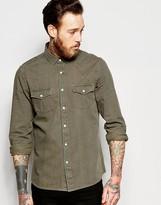 Asos Western Denim Shirt In Khaki In Regular Fit