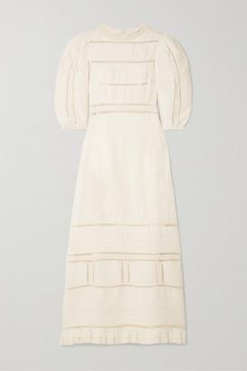 Sea Poppy Crochet-trimmed Pintucked Cotton Midi Dress - Cream