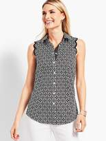 Talbots The Perfect Scallop Shirt - Geo-Diamond Print