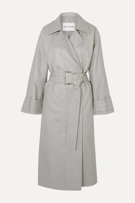 Stand Studio Pernille Teisbaek Shelby Leather Trench Coat - Gray