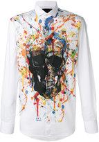 Philipp Plein skull paint splatter print shirt - men - Cotton - S