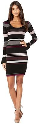 Cupcakes And Cashmere Cosette Striped Rib Knit Sweater Dress (Black) Women's Dress