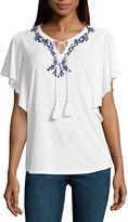 Liz Claiborne 3/4 Sleeve Split Crew Neck T-Shirt-Womens