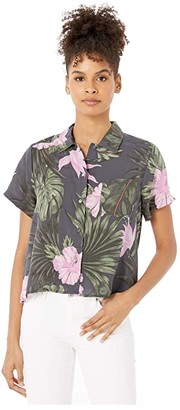 Hurley Getaway Printed Short Sleeve (Anthracite) Women's Clothing