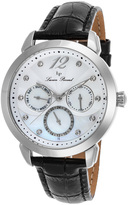 Lucien Piccard Silver & Mother-of-Pearl Rivage Leather-Strap Watch - Women