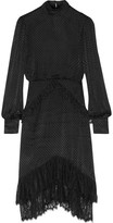 Saloni Isa Lace-trimmed Fil Coupé Dress - Black