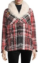 Rag & Bone Antione Button-Front Tweed Jacket w/ Shearling