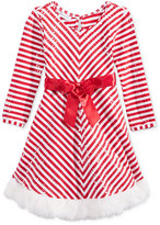 Bonnie Jean Faux-Fur Striped Holiday Dress, Toddler & Little Girls (2T-6X)
