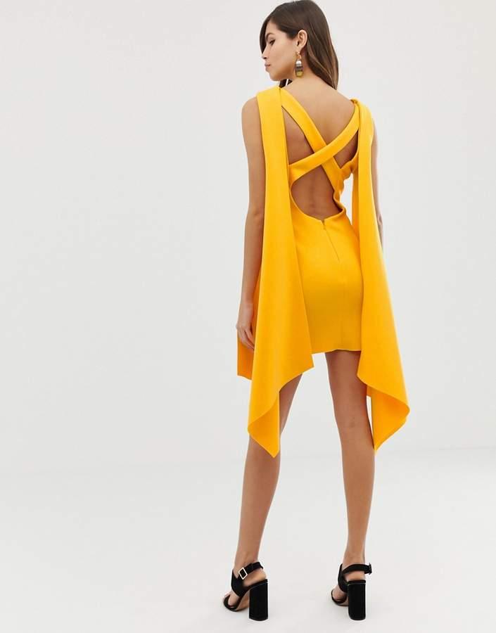 Asos Design DESIGN Premium cape back mini dress