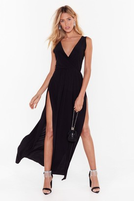 Nasty Gal Womens Tie to Resist Me Plunging Maxi Dress - black - 8
