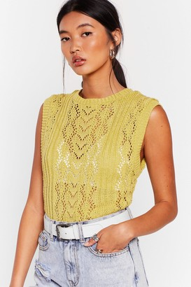 Nasty Gal Womens Knit So Fast Pointelle Knit Vest - Green - S, Green