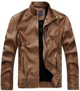 Meiruian Men's Fashion Stand Collar Synthetic Leather Jacket Moto Coats Jacket