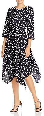T Tahari Polka Dot Handkerchief Hem Midi Dress