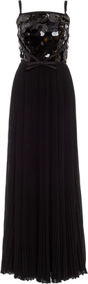 Prada Embellished Pleated Maxi Gown