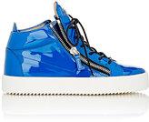 Giuseppe Zanotti Men's Patent Double-Zip Sneakers-BLUE