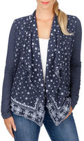 Lucky Brand Printed Open Front Cardigan