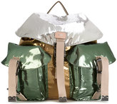 No.21 colour-block metallic backpack - women - Cotton/Leather - One Size